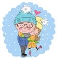 Boy and girl on skates vector image
