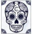 Hand drawn sugar skull in ornate frame vector image