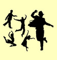 dancer male and female silhouette vector image vector image