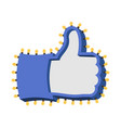 like sign with glowing lights thumb up symbol of vector image