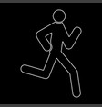 Running man - stick white color path icon vector image