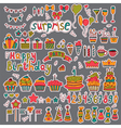 Birthday party design Cute hand drawn elements on vector image