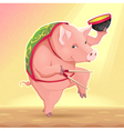 Funny pig with soup bowl and chinese sticks vector image
