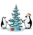 penguins and christmas tree vector image vector image