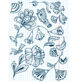 floral abstract doodle set vector image vector image