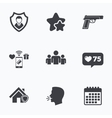 Security agency icons Home shield protection vector image