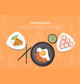 asian food set korean thai dishes top angle view vector image
