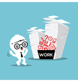 Businessman with stack of paper work load vector image