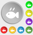 Fish dish Icon sign Symbol on eight flat buttons vector image