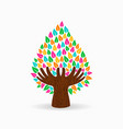 Human hand color tree concept for social help vector image