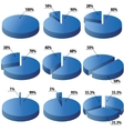 Pie graphs in blue color vector image