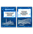sketch brochure italy travel on blue background vector image