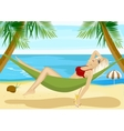 young blonde relaxing in hammock on beach vector image