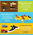 shoes fasion banner horizontal set flat style vector image