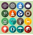Buddhism Icons Set Flat vector image vector image