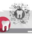 Hand drawn tooth icons with icons background vector image