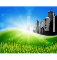 Meadow with sunlight and city at the background vector image vector image