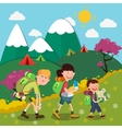 Happy Family Hiking on the Mountains vector image