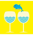 Cocktail drink glasses and jumping dolphin vector image