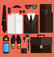 flat business collection dress brown color vector image