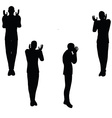 man silhouette in angry pose vector image