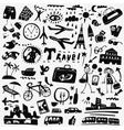 travel doodles set vector image