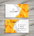 abstract polygonal yellow business card vector image