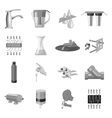 Water filtration system set icons in monochrome vector image