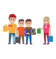 family shopping shopping collection vector image vector image