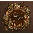 Coffee time decorative border label design vector image