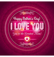 Red Mothers day greeting card with hearts vector image