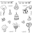 Set birthday party doodle vector image