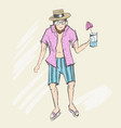 a happy man walks along the beach with a drink in vector image