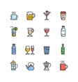 Drink Alcohol Beverage and Coffee Tea Icons vector image