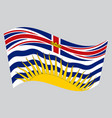 flag of british columbia waving on gray background vector image