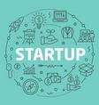 green line flat circle startup vector image