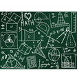 Mathematics icons and formulas on the school board vector image