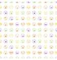 Seamless pattern of hand drawn color lines smiles vector image