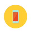 Smartphone icon over orange vector image
