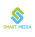 Green blue smart media logo vector image