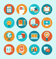 educational icons and signs in flat style vector image vector image