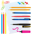 Set of office stationery vector image vector image