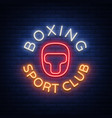 boxing sports club logo sign in neon style vector image