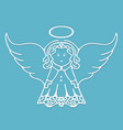 christmas angel with wings and a halo cut from vector image