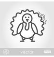 Turkey outline icon Harvest Thanksgiving vector image