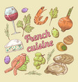 hand drawn french cuisine doodle with wine vector image