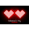 Shining pixel hearts for Valentines day designs vector image vector image