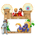 Frame design with fairytales characters vector image