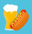beer and hot dog flat cartoon vector image