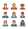 call center agents flat avatars vector image
